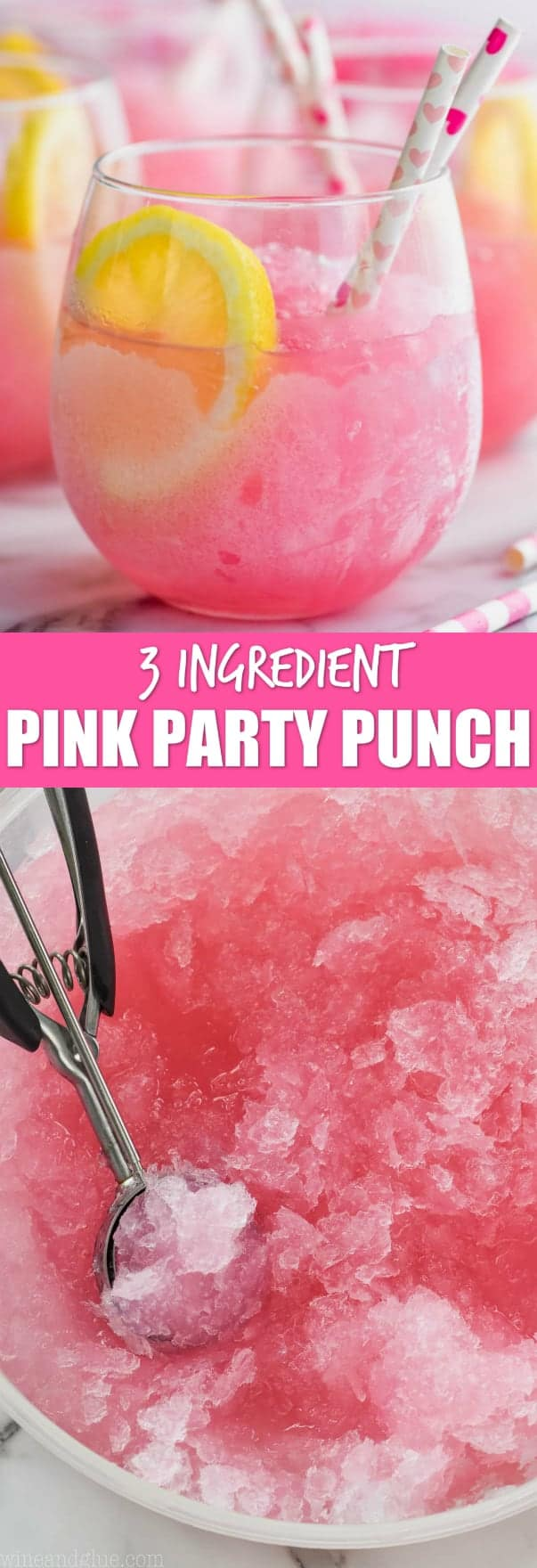 collage of pink party punch photos