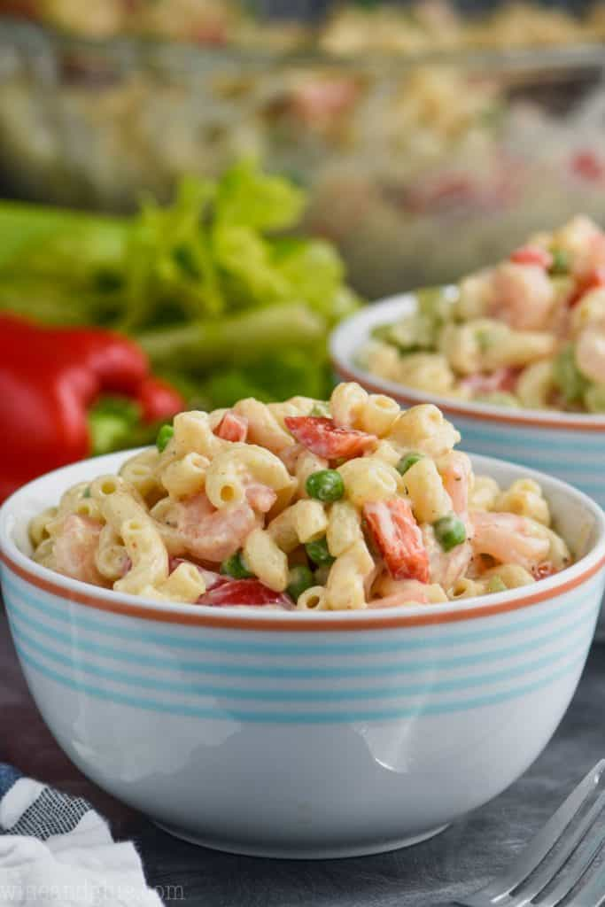 A side photo of a bowl of Shrimp Pasta Salad