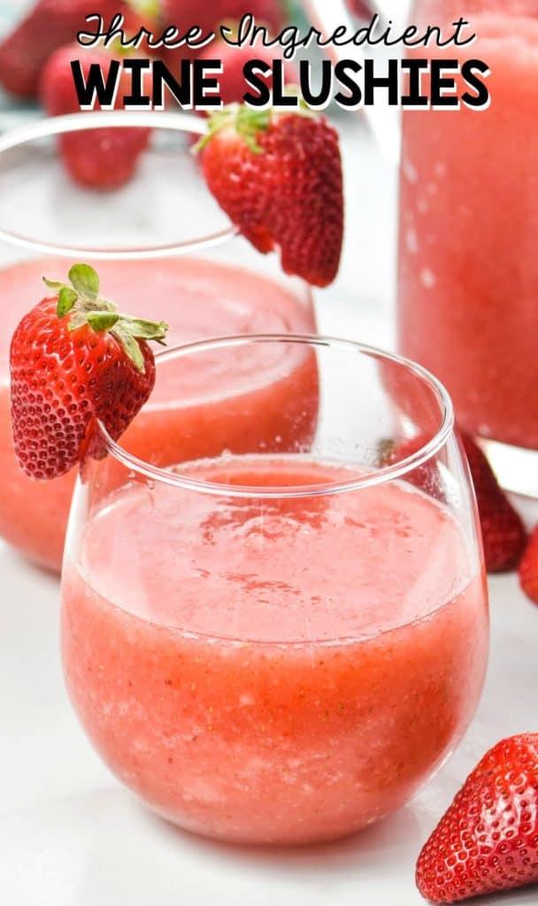 glasses of strawberry wine slushies