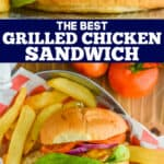 collage of photo of grilled chicken sandwich