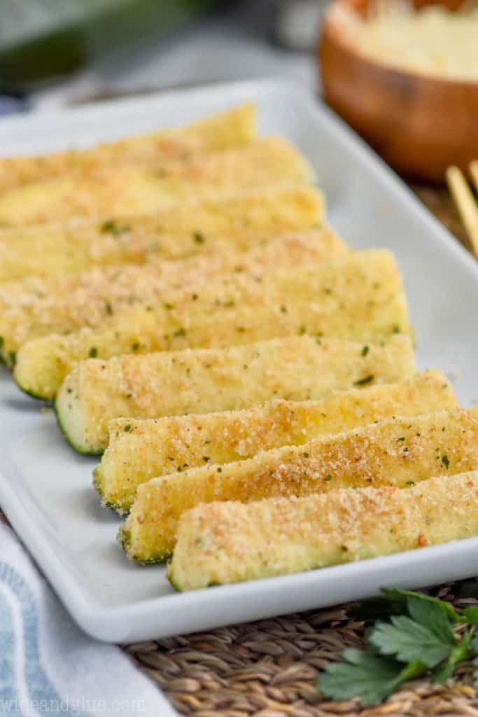 close up plate of the best zucchini fries recipe