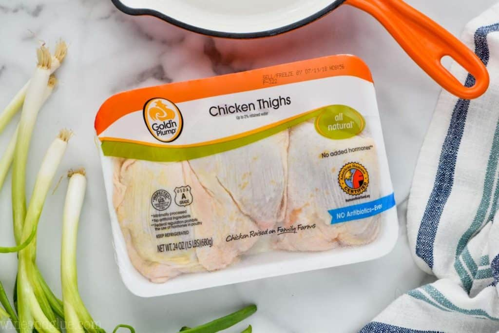 package of Gold'n Plumps bone-in chicken thighs