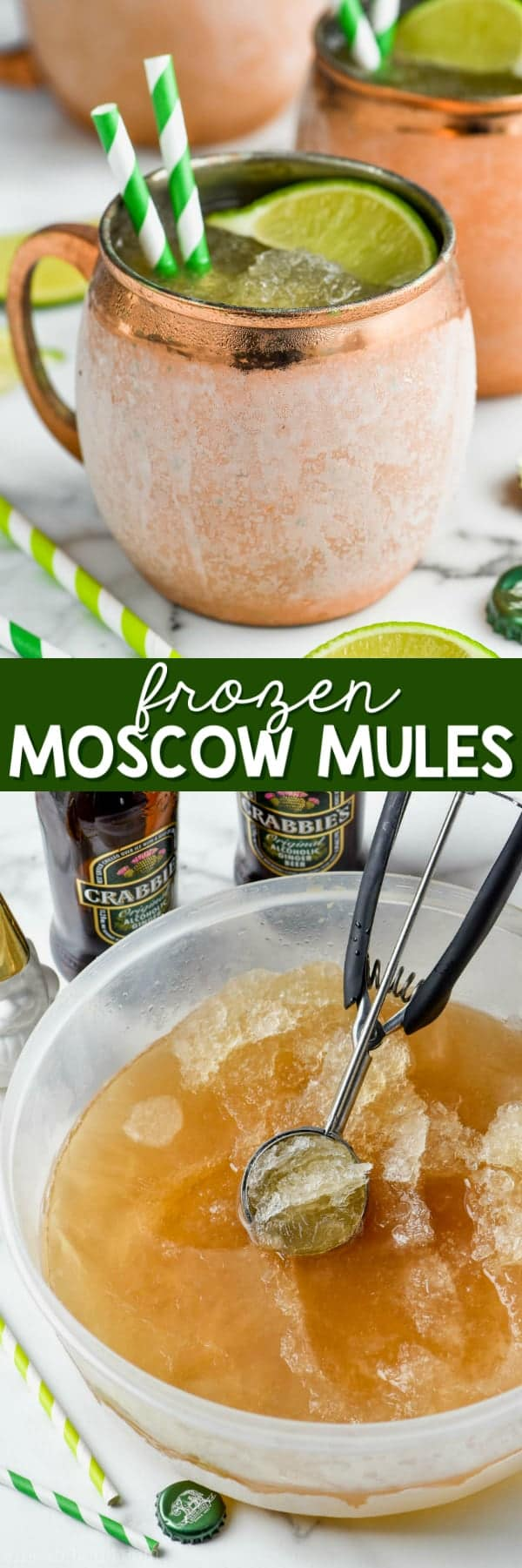 frosty copper mug of frozen moscow mule