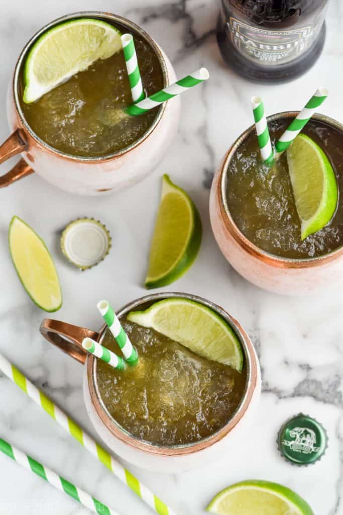 overhead view of frozen moscow mules