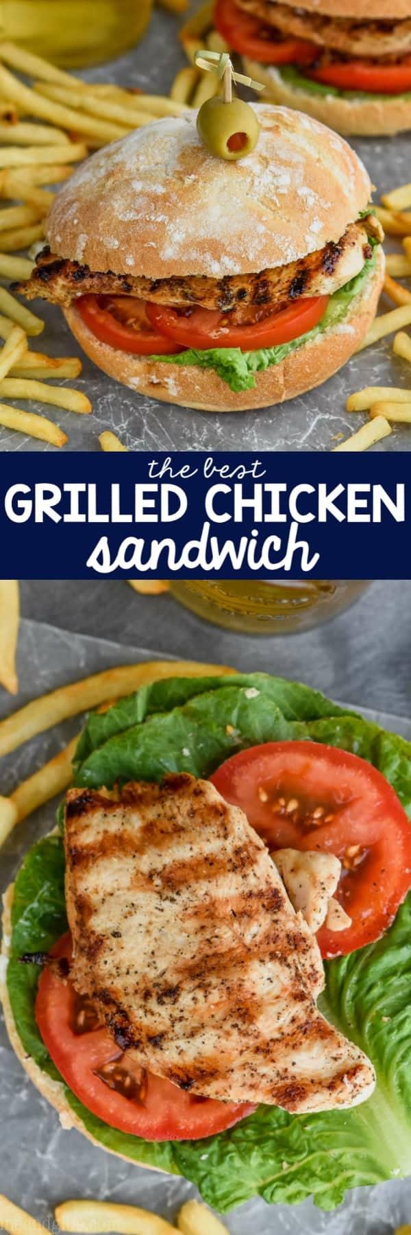 grilled chicken sandwich recipe on top in bun, overhead grilled chicken on bun on bottom