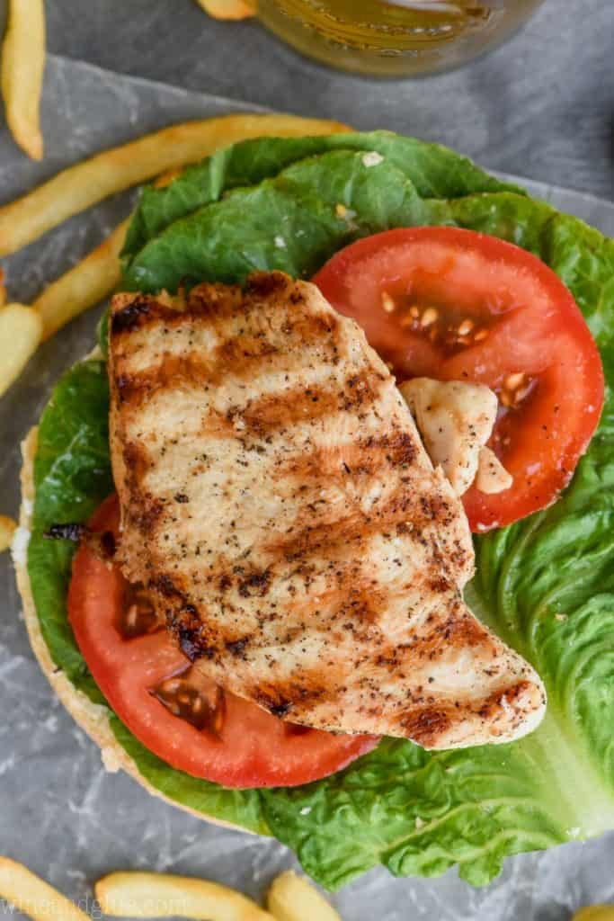 overhead view of the best grilled chicken sandwich