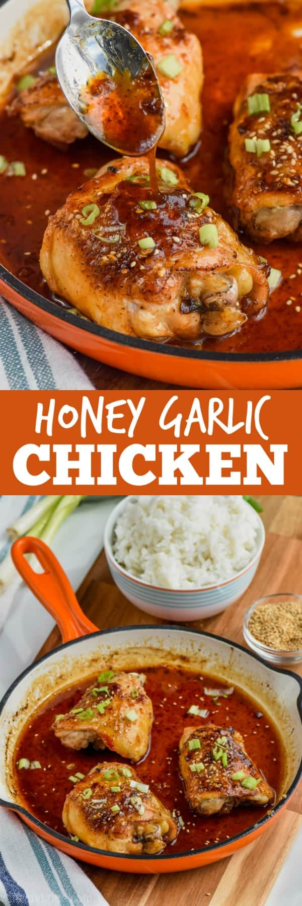 spooning honey garlic sauce over baked chicken thighs in a pan