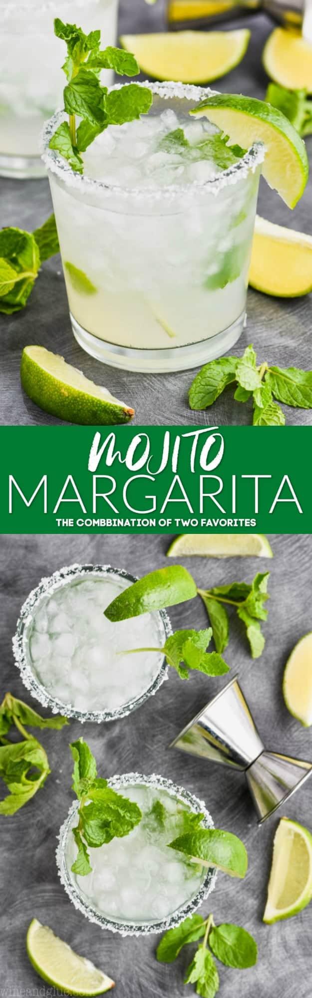 collage of photos of mojito margarita