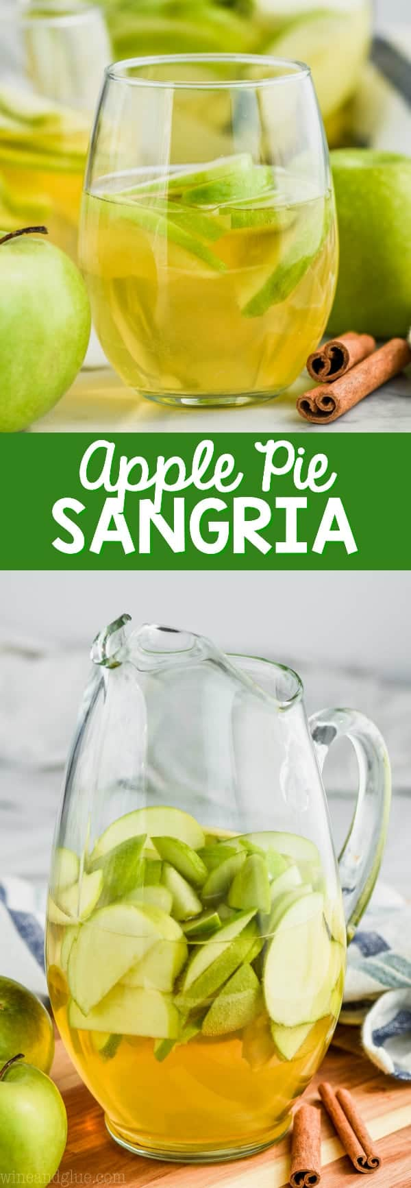 pitcher of apple pie sangria recipe with cut up green apples
