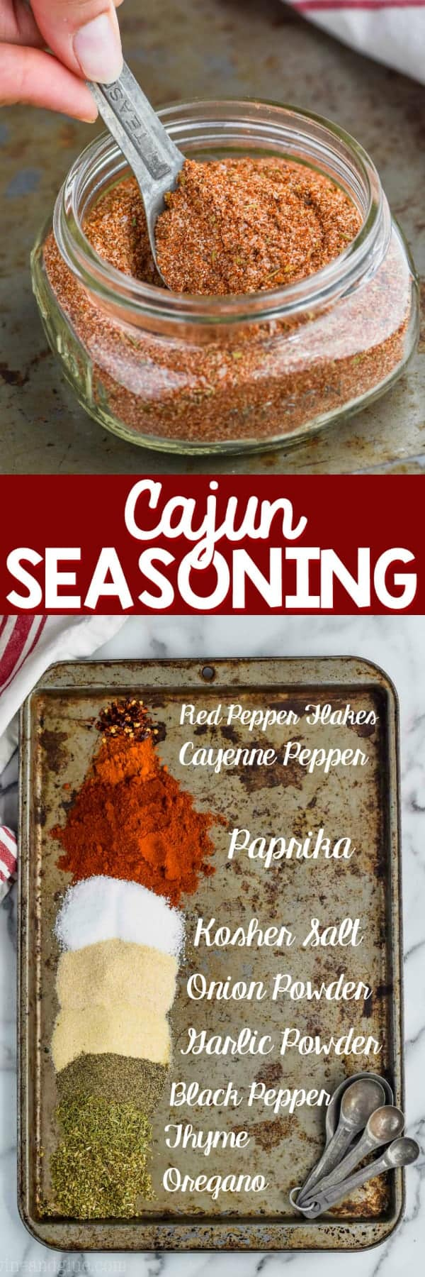 the best cajun seasoning recipe in a mason jar being spooned out