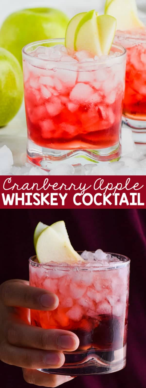 cranberry apple whiskey cocktail garnished with apple
