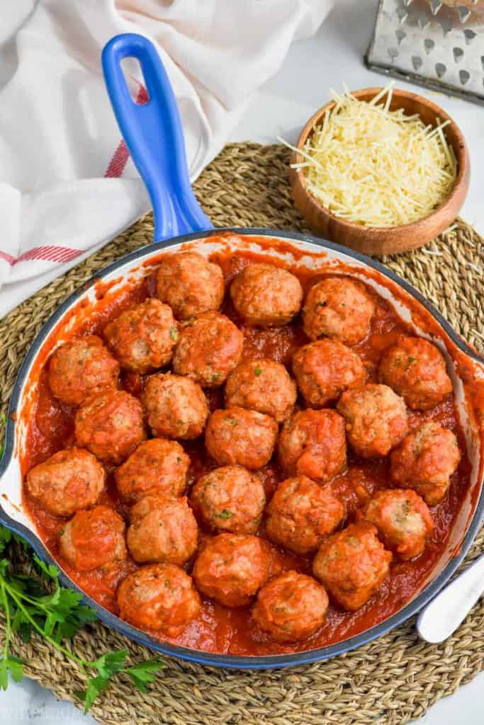 pan full of turkey meatballs covered in sauce