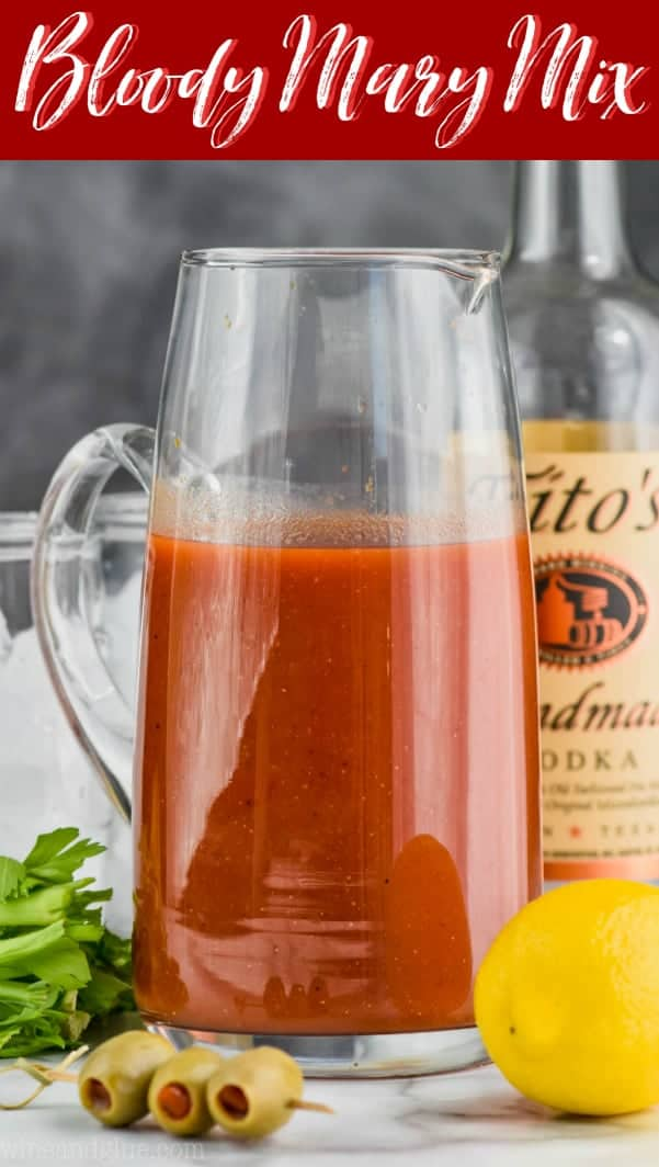 a pitcher full of bloody mary mix recipe