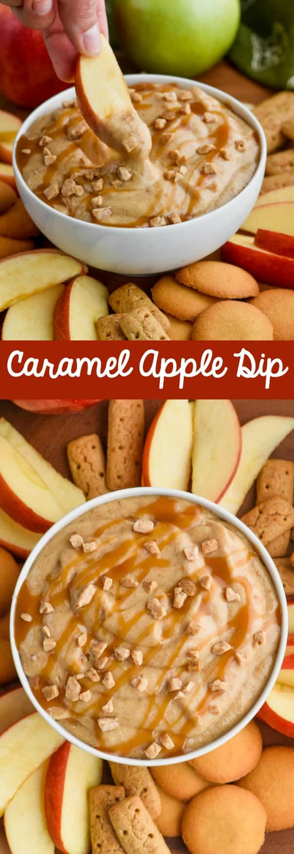 caramel apple dip appetizer in a bowl with an apple being dipped