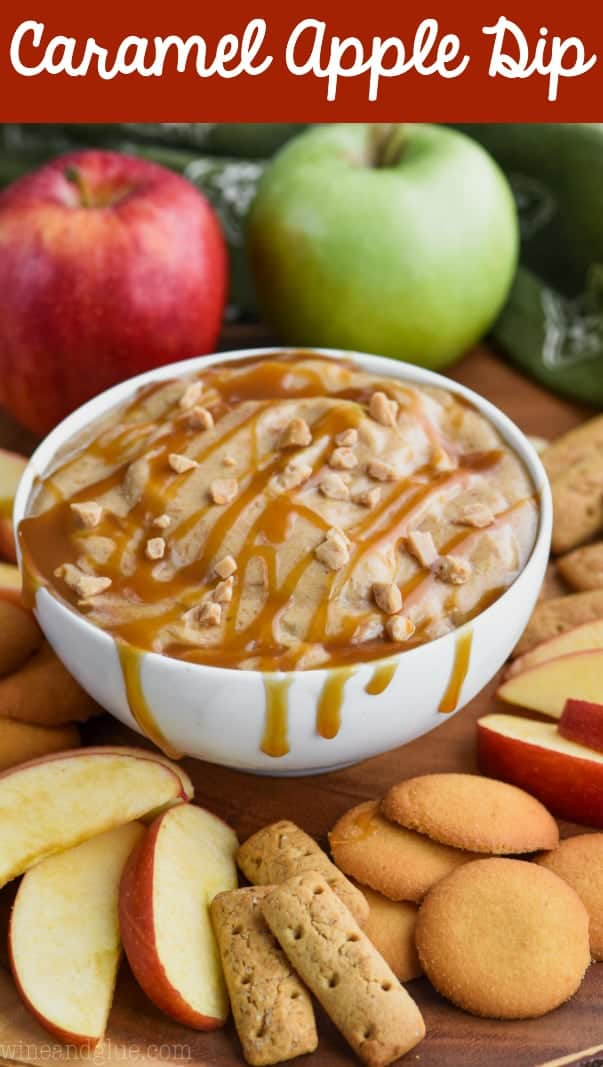 easy caramel apple dip recipe in a bowl with drippy caramel sauce