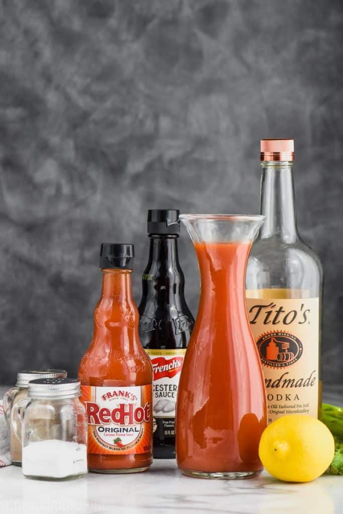 ingredients for how to make bloody mary mix