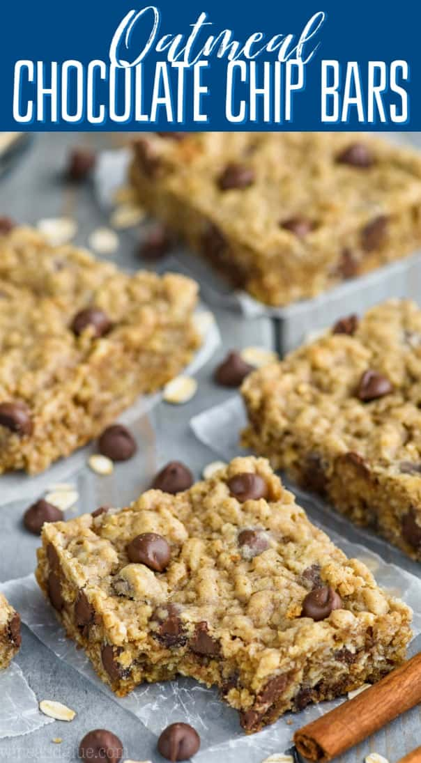 A closeup photo of an Oatmeal Chocolate Chip Bar with a small bite in it.