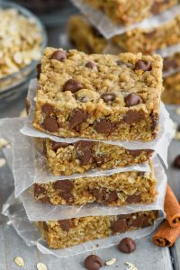 stack of the best oatmeal chocolate chip bars