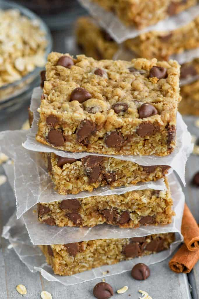 stack of the four oatmeal chocolate chip bars