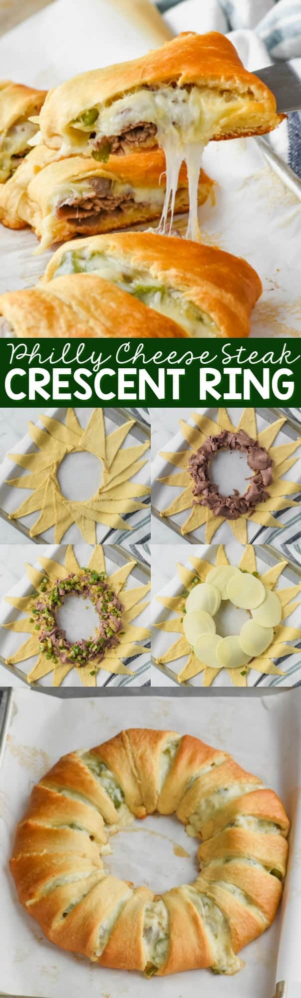 dishing out a piece of philly cheese steak crescent ring and how to put it together