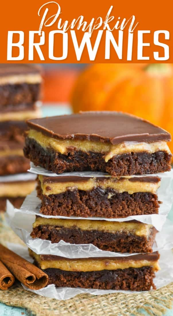 stack of the best pumpkin brownie recipe