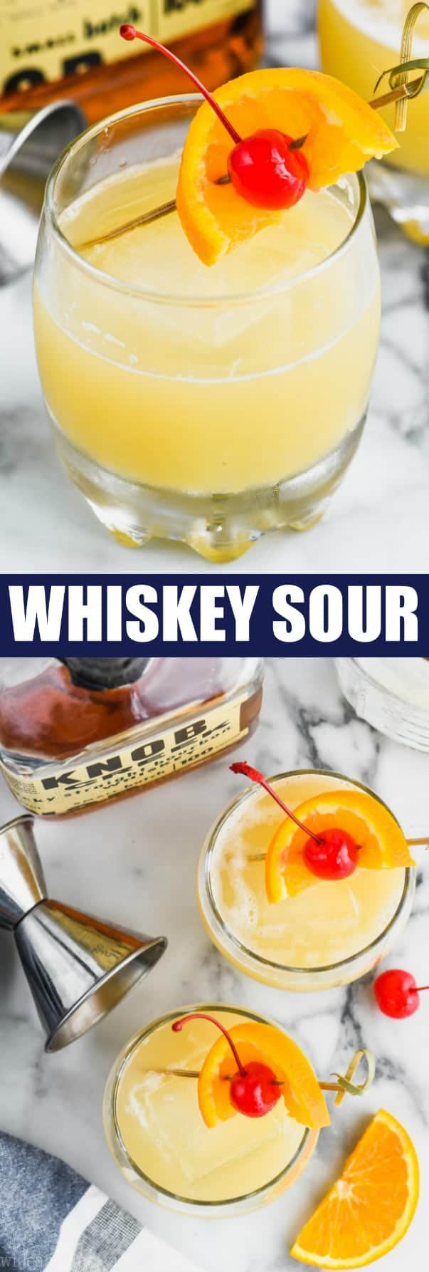A collage of two photos: a close up of the Whiskey Sour with a toothpick puncturing a orange slice and cherry, and the other photo is an overhead photo of two Whiskey Sours
