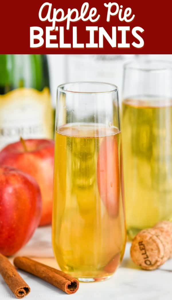 champagne glass of easy bellini recipe, apple pie bellini