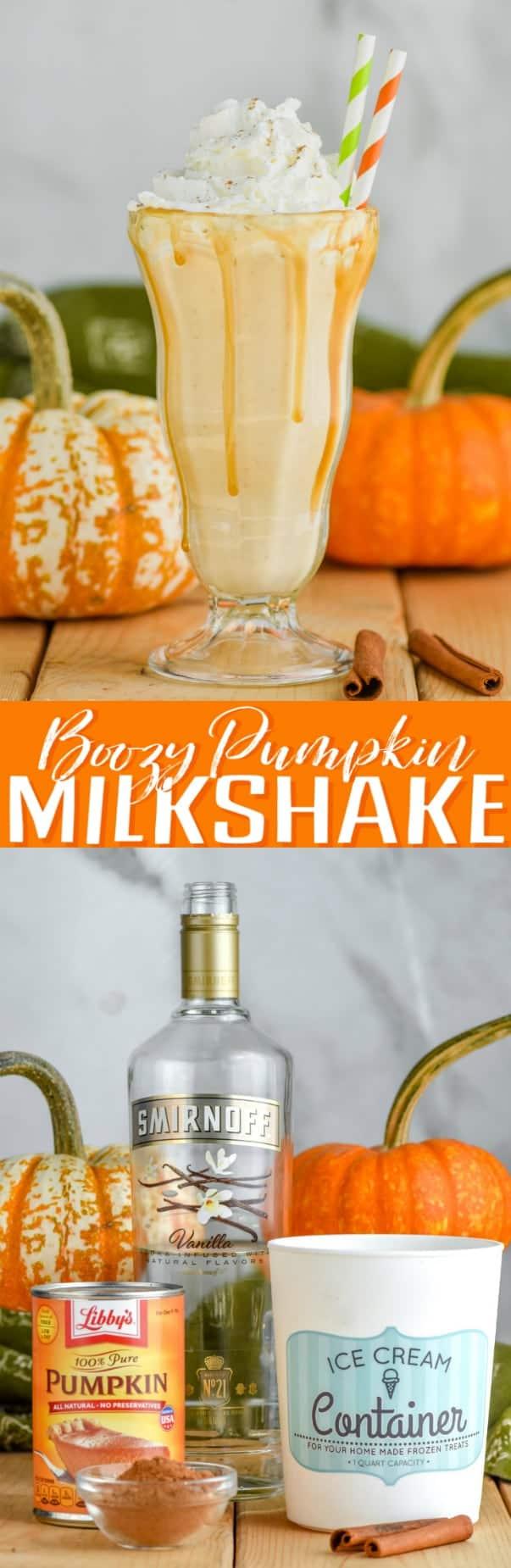 boozy pumpkin milkshake with whipped cream and straws