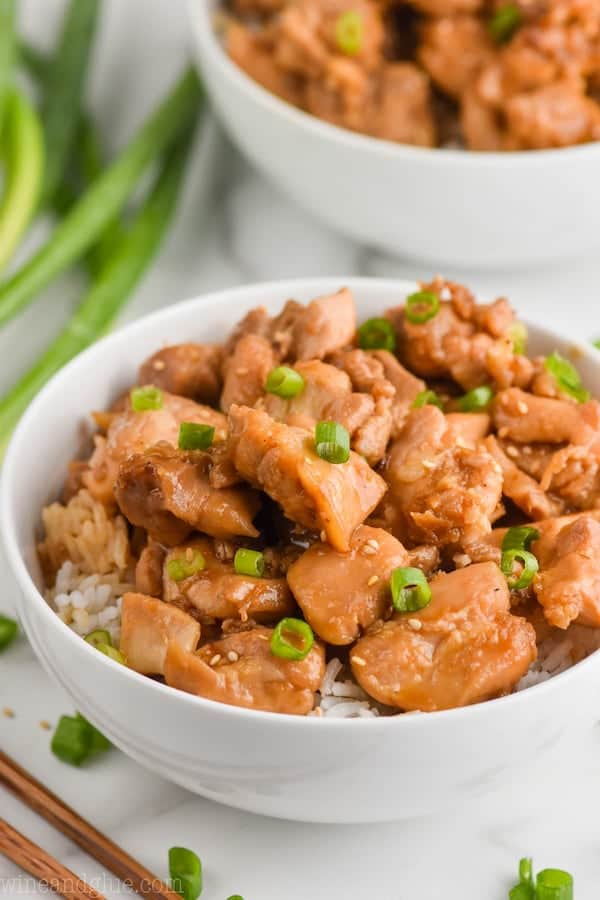up close view of bourbon chicken recipe
