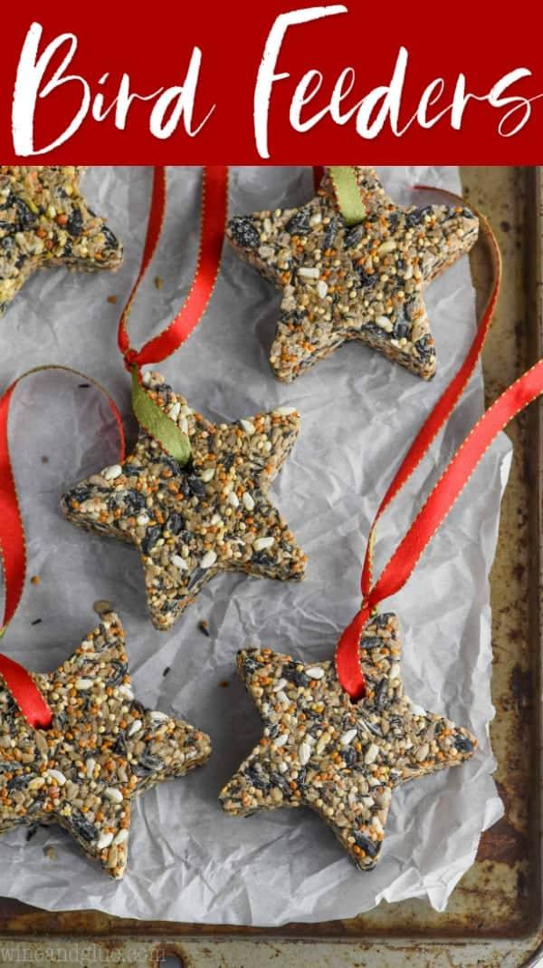 star shaped diy bird feeders on a baking tray