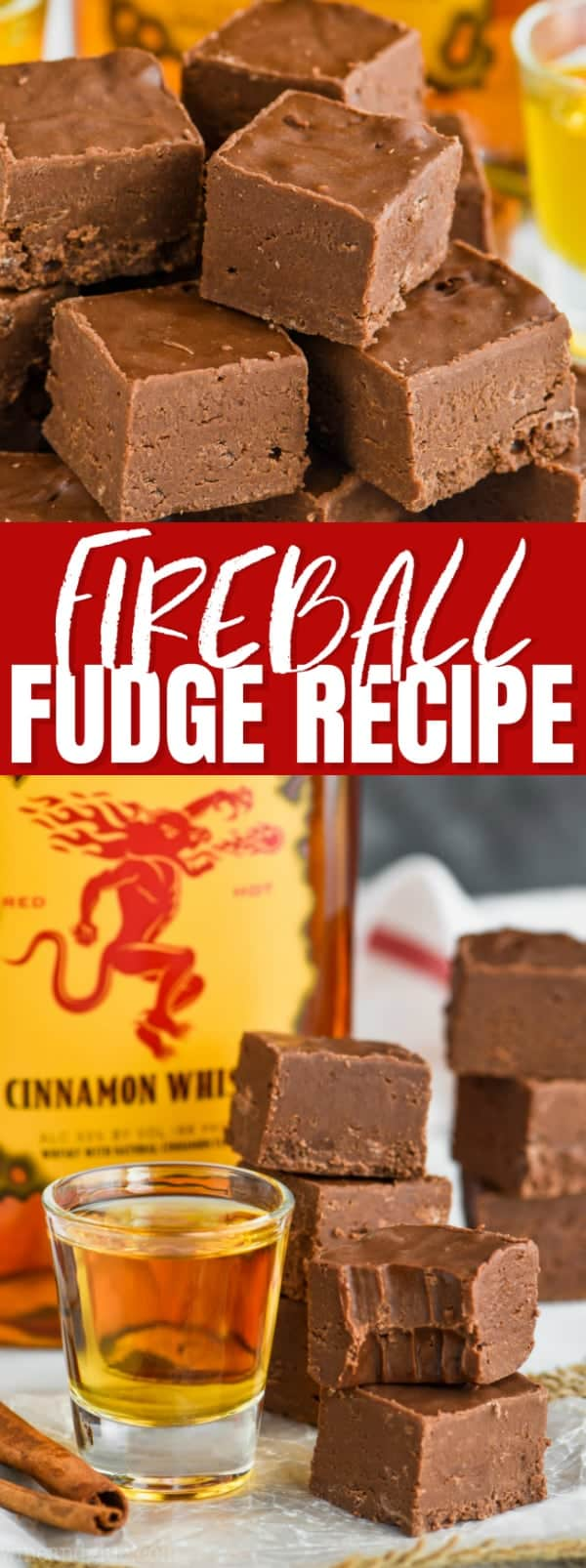 easy fireball fudge recipe, fudge made with whiskey
