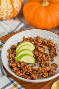 bowl of the best pumpkin spice homemade granola recipe