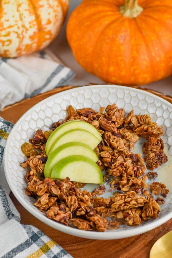 bowl of the best pumpkin spice homemade granola recipe
