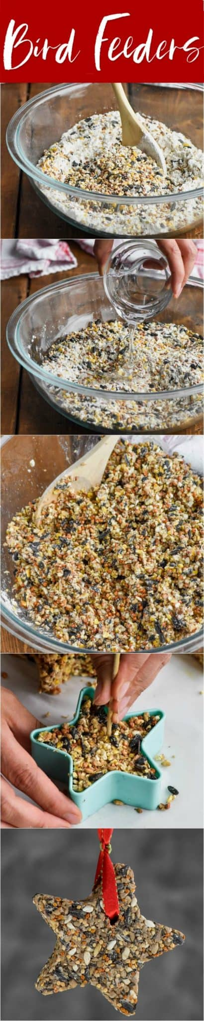 step by step tutorial photo collage for how to make homemade bird feeders