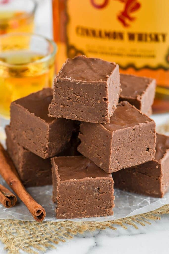 A pyramid stack of cubed Fireball Fudge