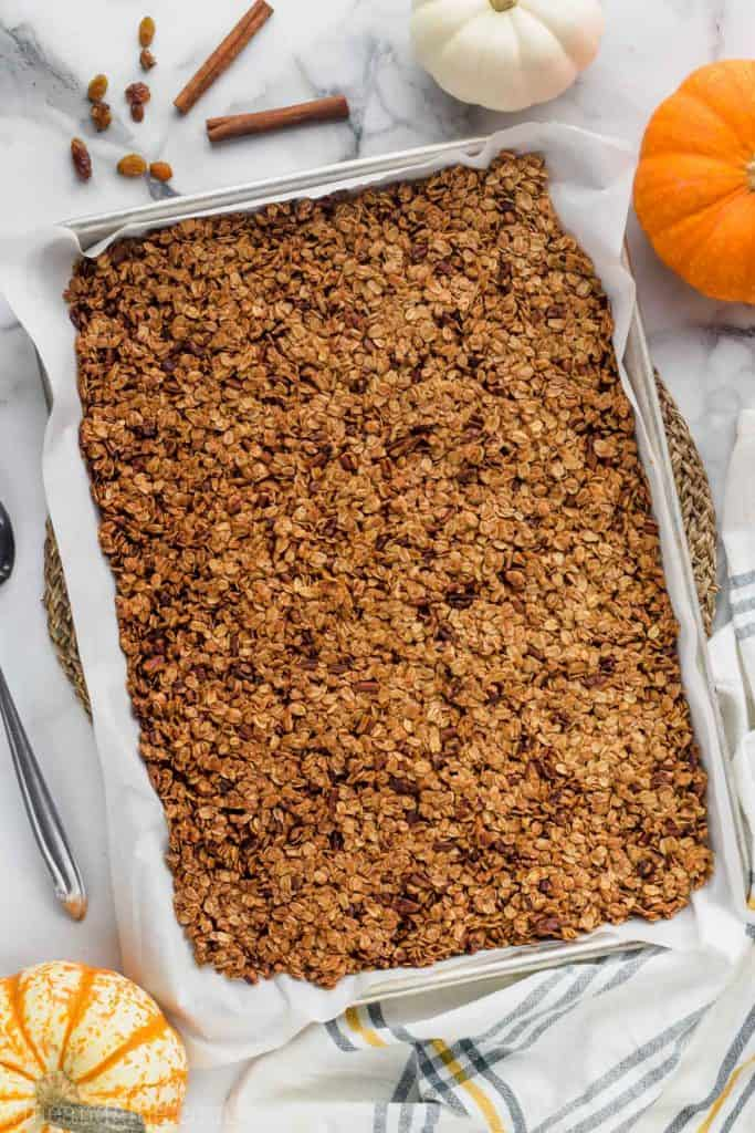 baking tray of baked pumpkin spice homemade granola