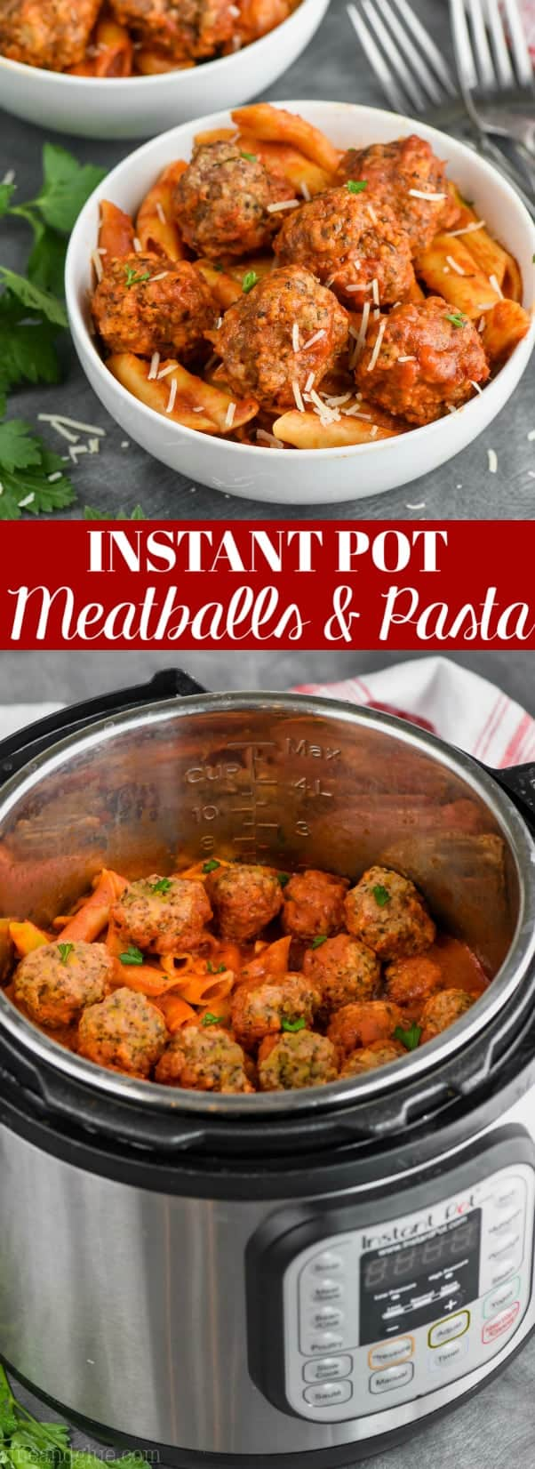 bowl of instant pot meatballs and pasta