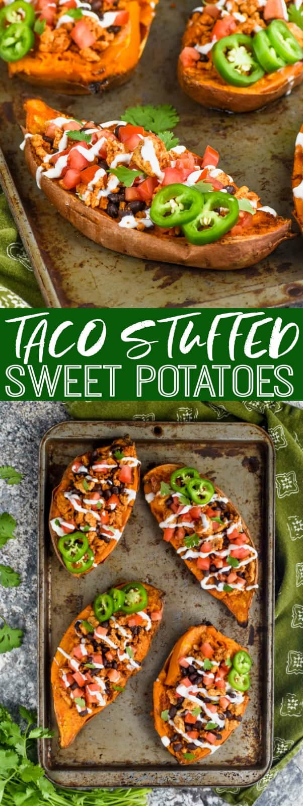 taco stuffed sweet potatoes recipe on a baking sheet