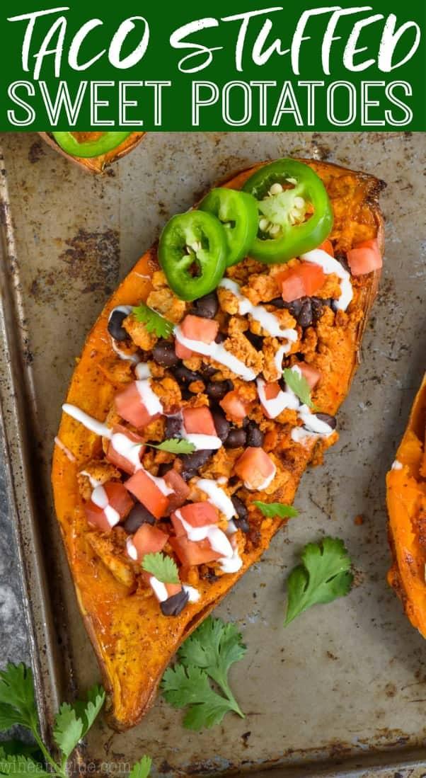 overhead view of taco stuffed sweet potato recipe