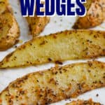 baked potato wedges on a tray