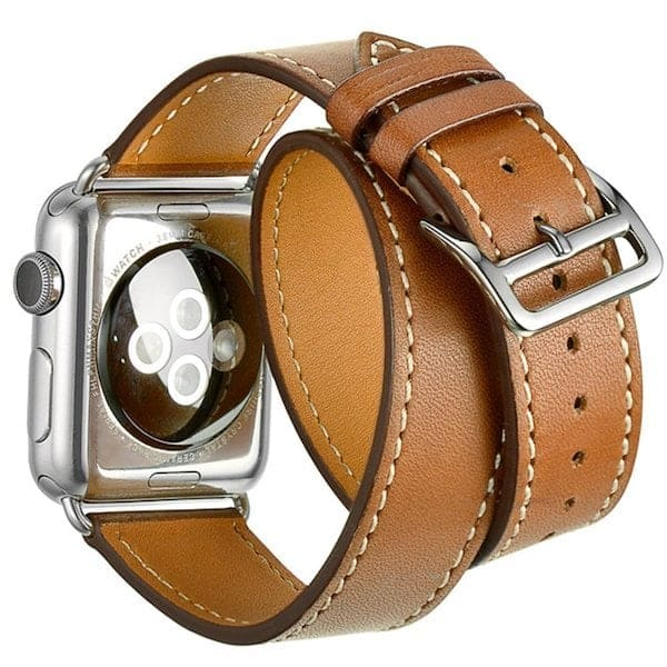 double strand leather apple watch wrist band