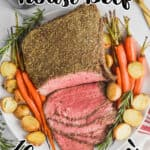 overhead view of a roast beef recipe that has been sliced