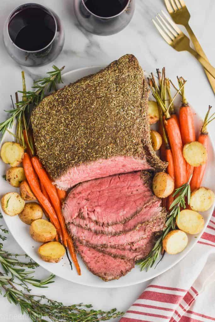 overhead view of beef roast recipe
