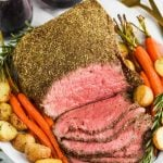 overhead view of sliced top round roast beef recipe
