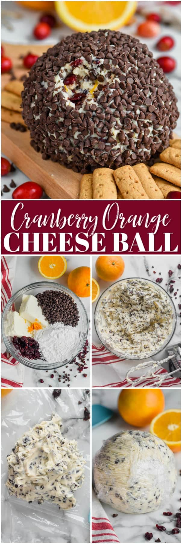 chocolate chip coated cranberry orange cheese ball recipe on a cutting board with crackers