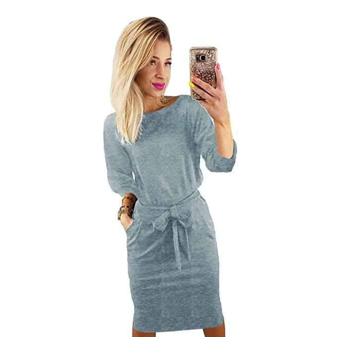 woman in a gray casual pencil dress