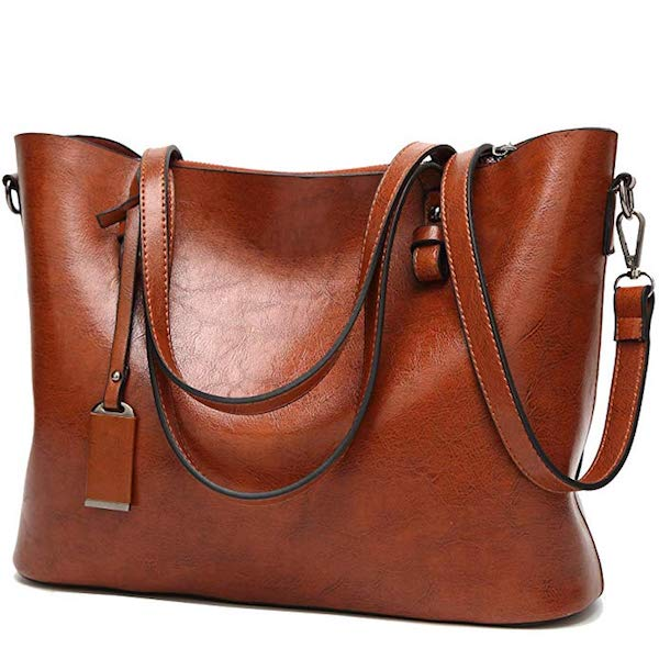 picture of a brown faux leather purse
