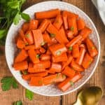 overhead view of bowl of roasted honey glazed carrots recipe