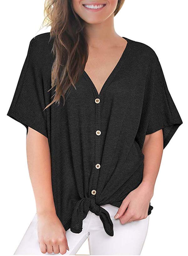 woman wearing loose front tie shirt
