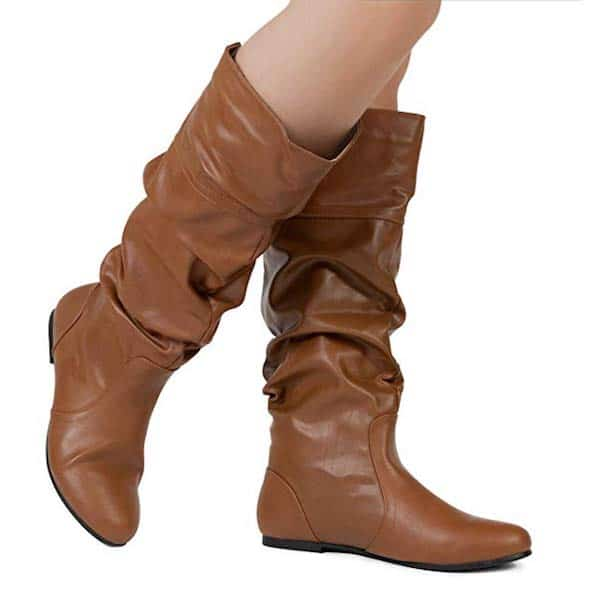slouchy brown dress boots